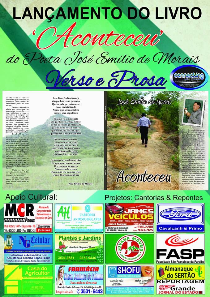 LIVRO DO POETA  JOSE MORAIS QUE  TEVE NOSSA PARTICIPAÇÃO  NO SEU LANÇAMENTO