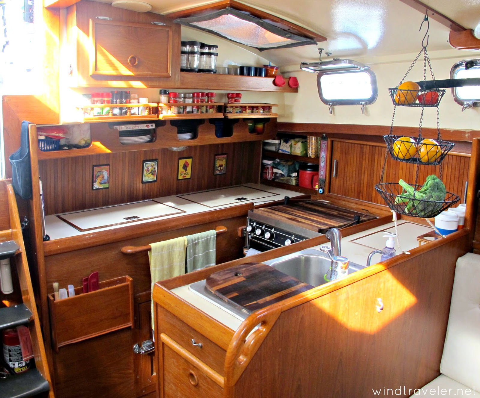 Windtraveler our boat interior a photo tour for Boat galley kitchen designs