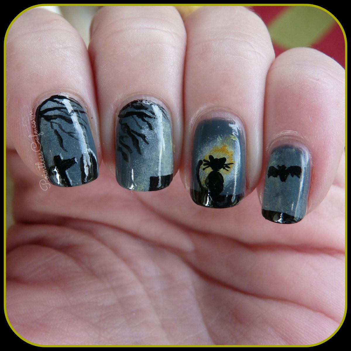 Halloween Nail Art. Black Cat ... - Spooky Halloween Nail Art: Black Cat In The Moonlight Pointless Cafe