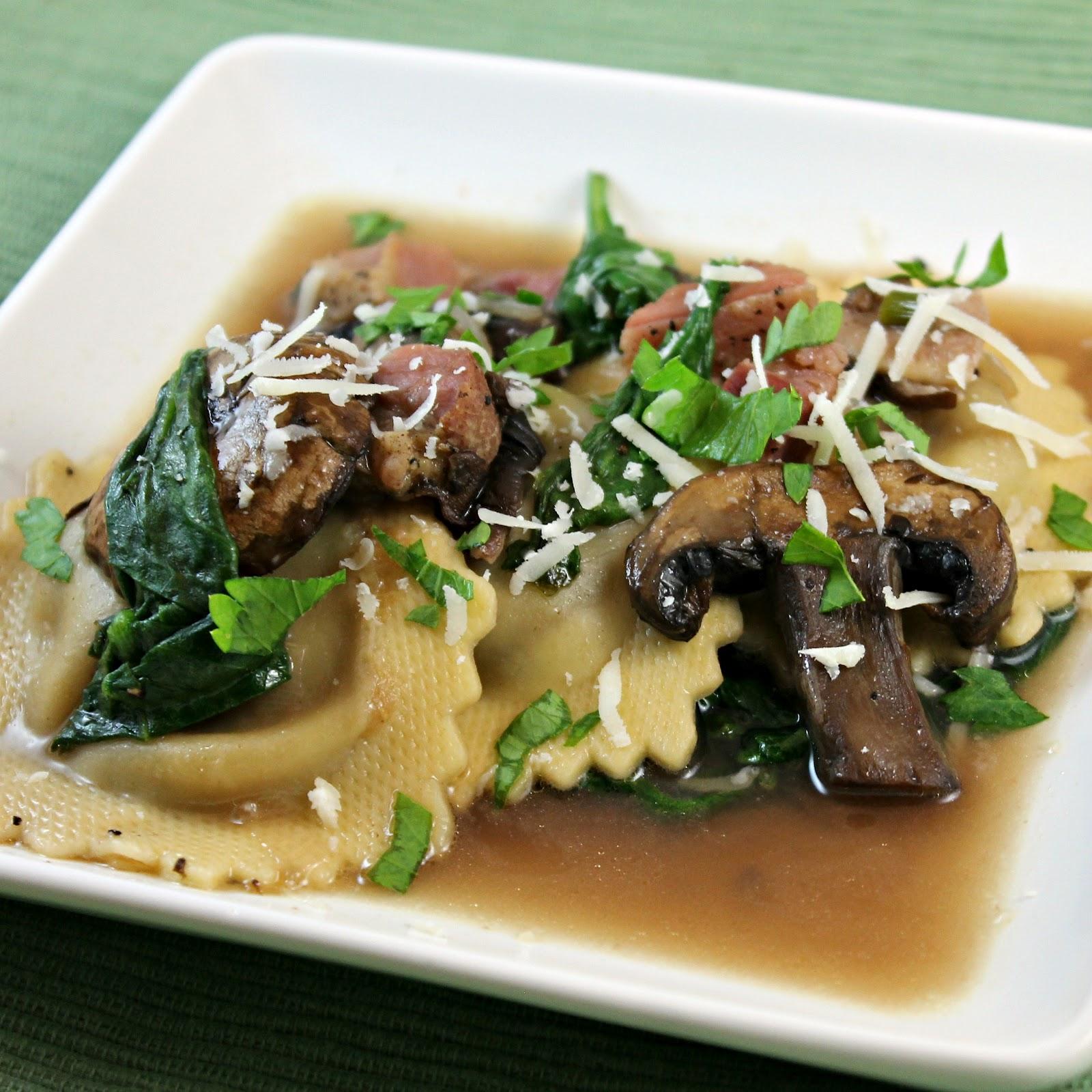 Chicken Marsala Ravioli With Spinach And Mushrooms