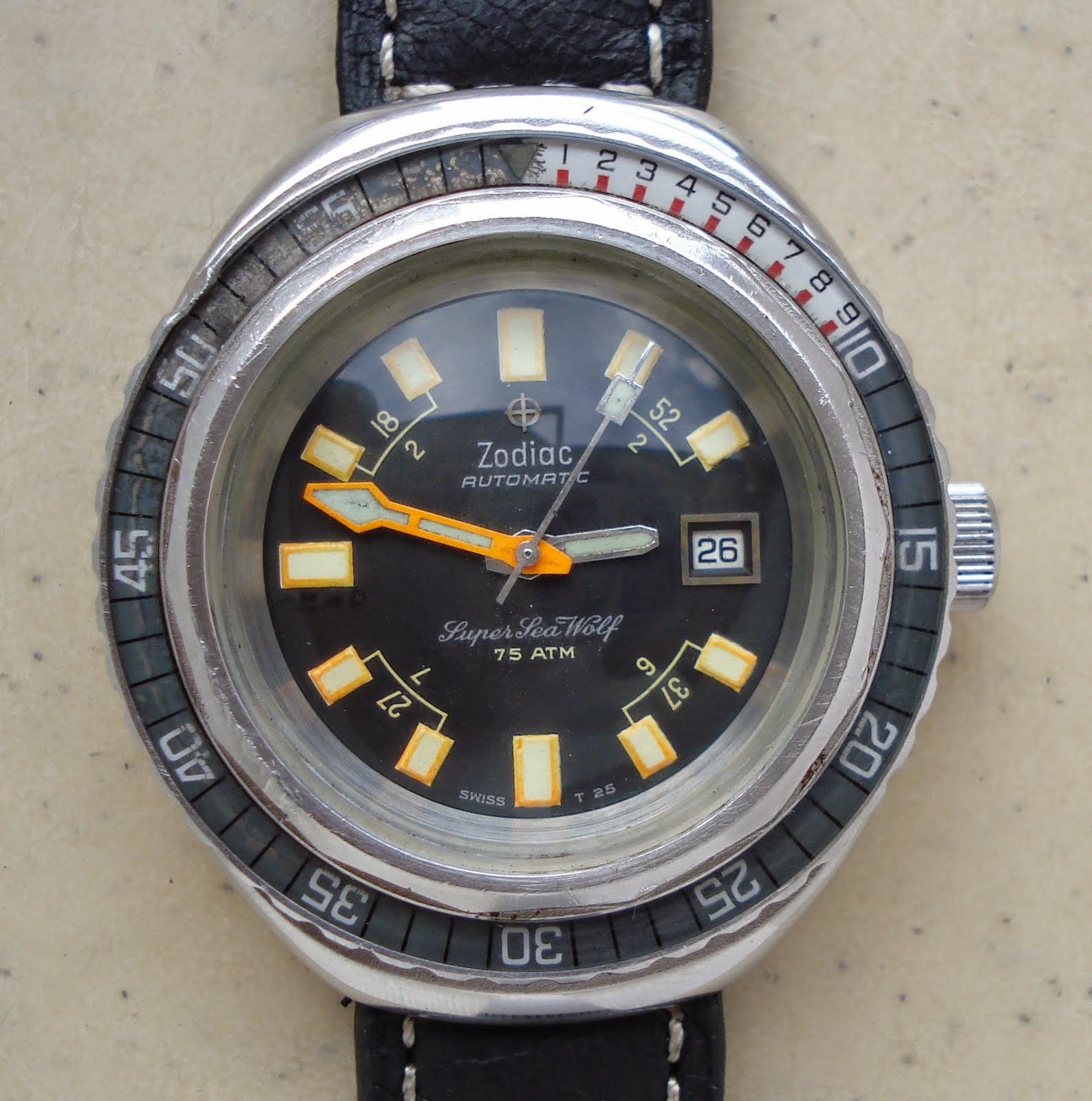 Bruno Amp Hancock Vintage Zodiac Super Sea Wolf Automatic Watch