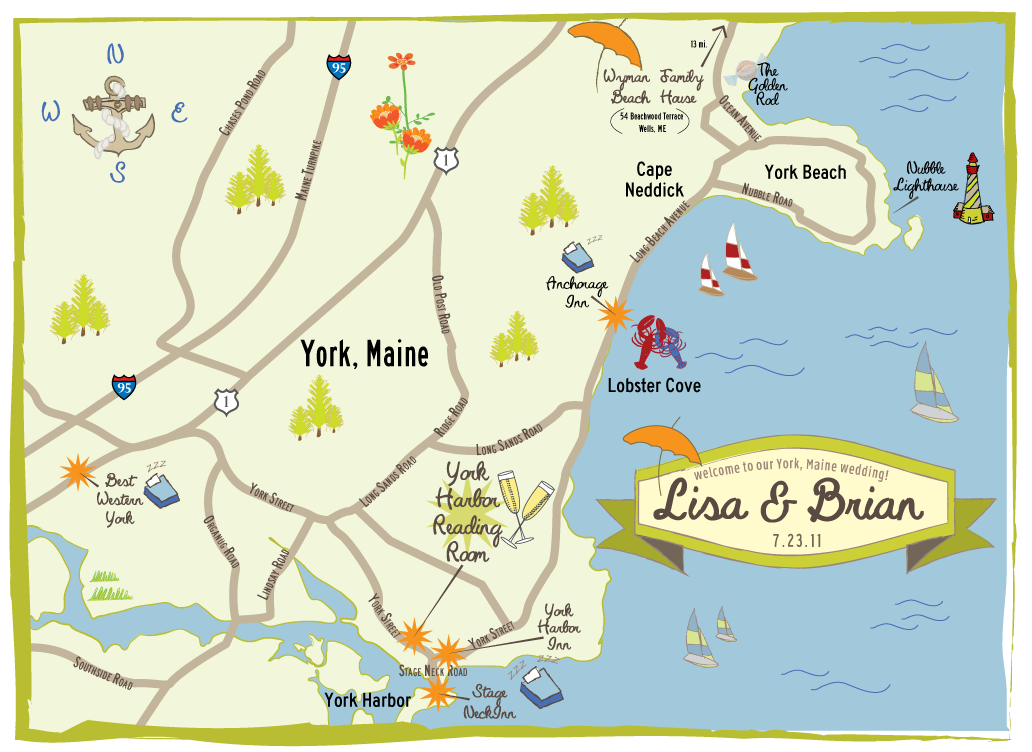 York Maine Map  CW Designs