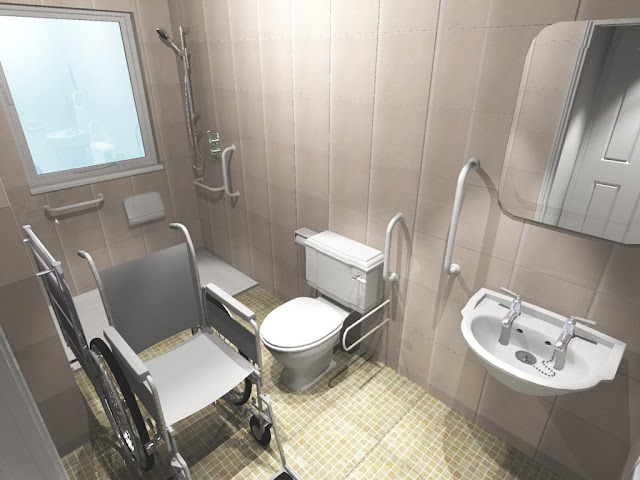 amazing handicap bathroom design with the wheel chair and simple toilet