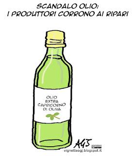 olio, truffe alimentari. vignetta satira