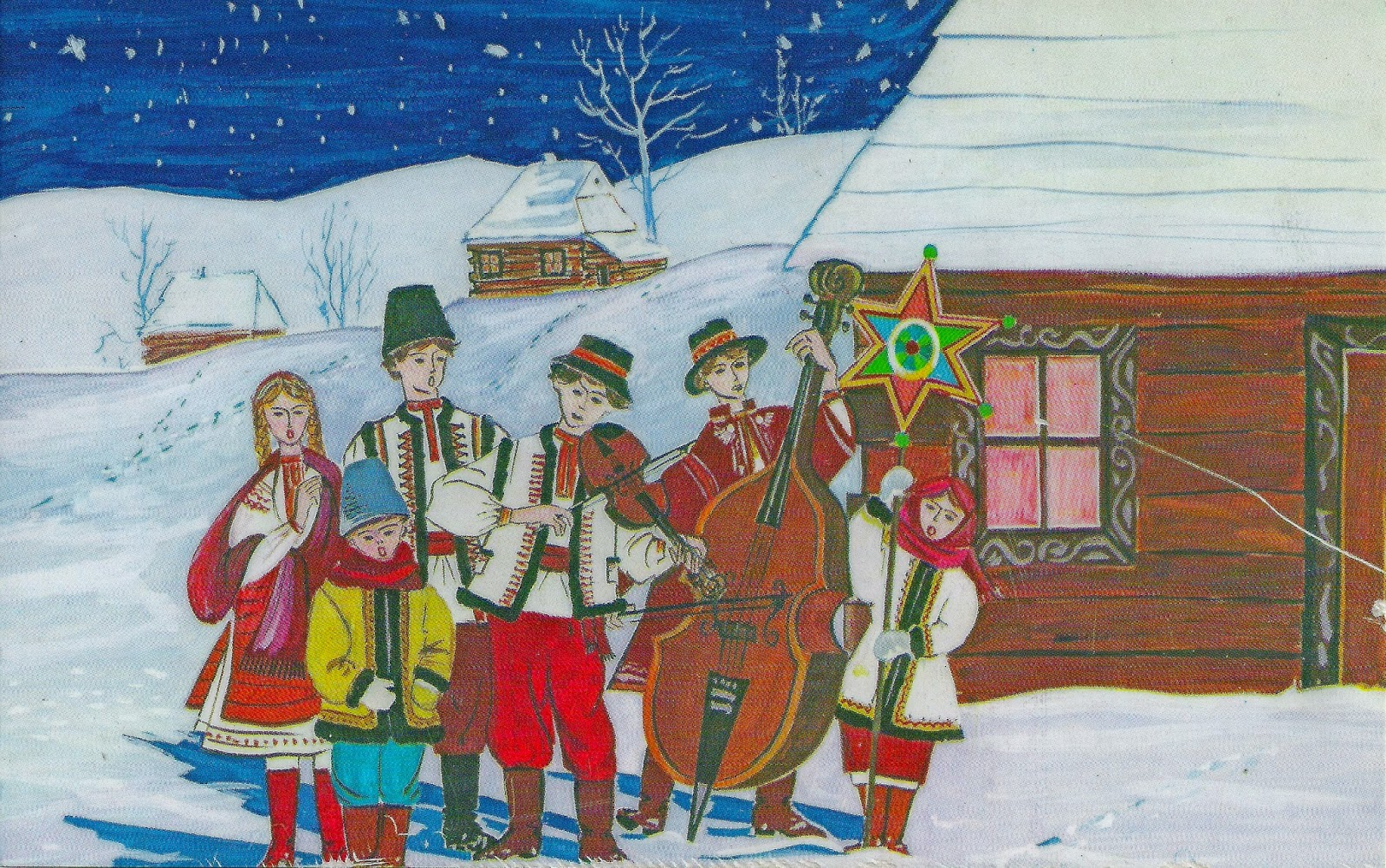 Rooted in eastern europe christmas in ukraine 100 years ago painting by yaroslava surmach mills showing carolers outside a home in ukraine m4hsunfo