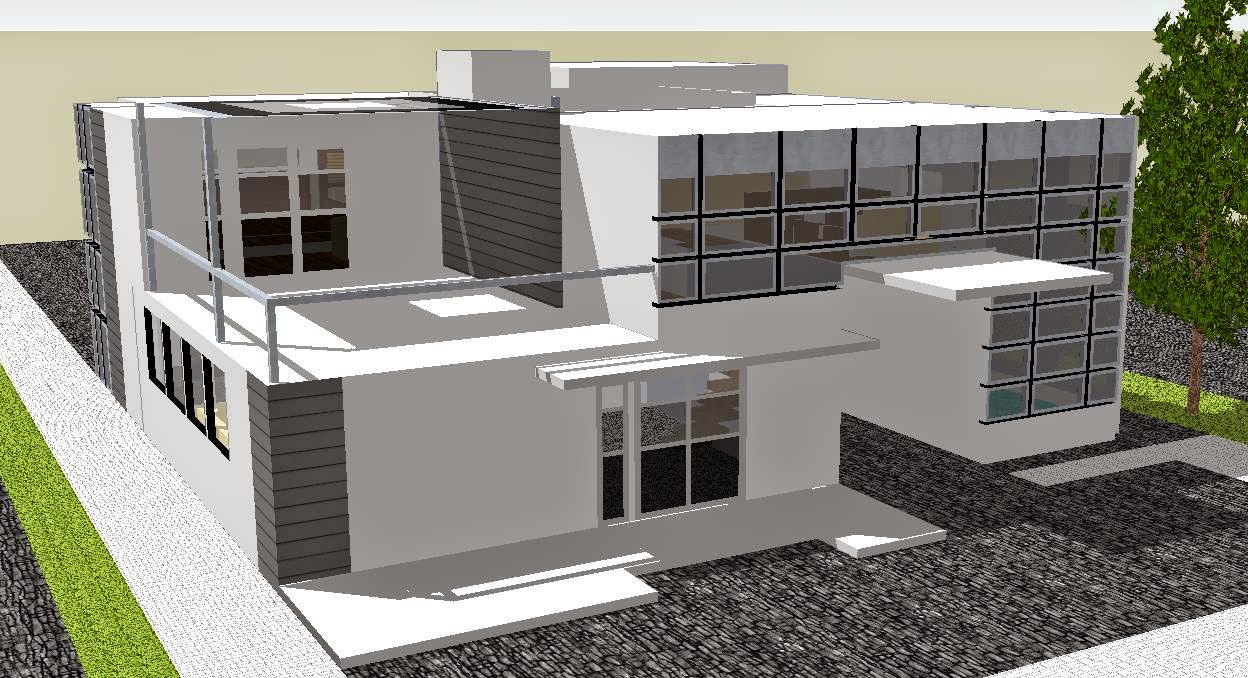 Modern house sketchup the image kid has it for Modern house sketchup