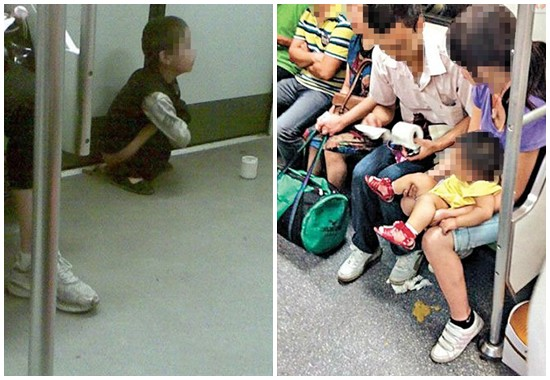 Chinese Parent Just Can't Control Their Kids to Poop Around in Subway Train