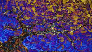 """""""Fusão"""" de Árvore despida sobre texturas de folhas - Paint.NET"""