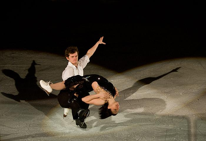 Competition level figure skaters - this pair, at a dance competition.