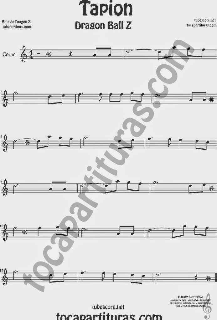 Tapión Bola de Dragón Z Partitura de Trompa y Corno Francés en Mi bemol Sheet Music for French Horn Music Scores Dragon Ball Z