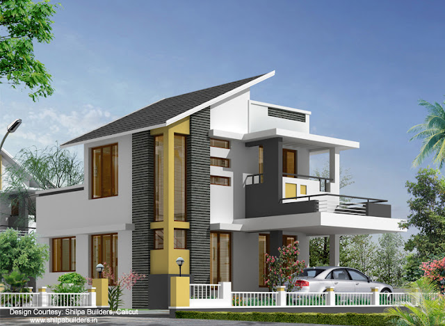 low cost contemporary house plan-1060 sq ft 14-16 lakh