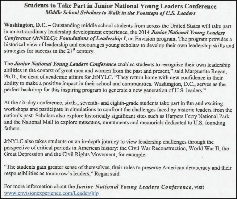 solomon s words for the wise  crosby youth to participate in junior national young leaders conference in washington dc