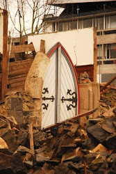 Church door still standing
