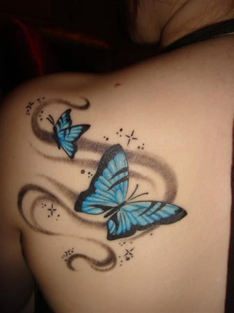 Butterfly Women Back Tattoo