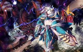 anime girl monster hunter dragon armor weapon hd wallpaper