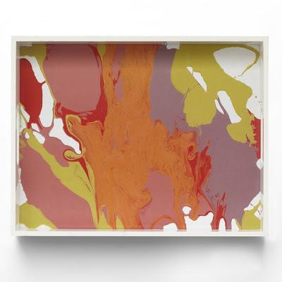 west elm, leah durner tray, art, pink, orange, decor accessory