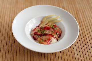 konfitált hal pisztráng lazacpisztráng édesköménygumó édeskömény ánizskapor áfonyaecet áfonya ecet