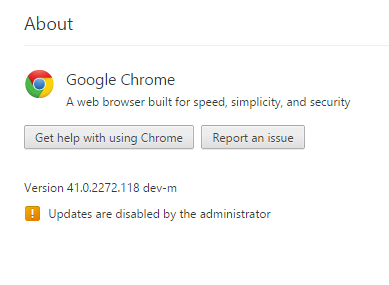 Updates are disabled by the administrator
