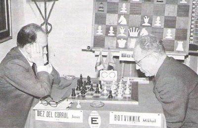 Partida de ajedrez Díez del Corral- Botvinnik, Torneo de Ajedrez de Palma de Mallorca