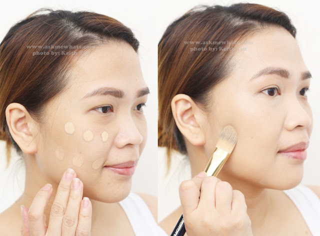 a photo on how to apply The Body Shop Fresh Nude Foundation