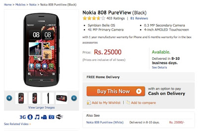 41-megapixel Nokia 808 PureView now available for Rs. 25,000