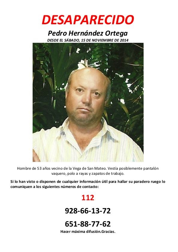 DESAPARECIDO: PEDRO HERNÁNDEZ ORTEGA, VECINO DE SAN MATEO