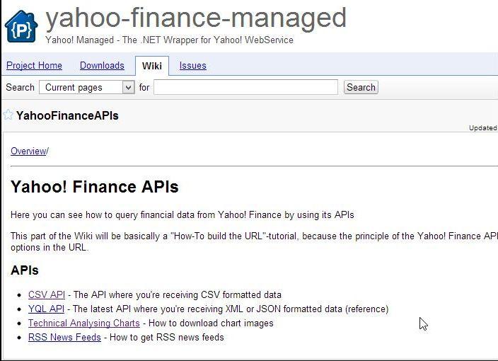 Yahoo finance api stock options