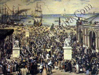 Proudhon's dream, Proudhon's vision of a workers' state is seen in this imaginative view. In the foreground people are bartering goods, and on the right is the People's Bank. Proudhon's attempt to set up such a bank was one of the factors that led to his imprisonment.
