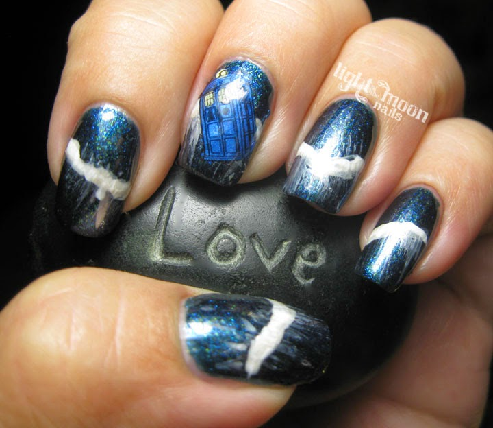 Light Of The Moon Nails 31dc2014 Blue Doctor Who