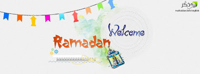 Colorful ramadan kareem wallpaper with welcome message