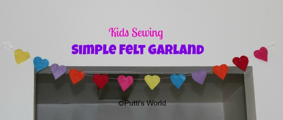 Kids Sewing Valentine Simple Hearts Felt Garland