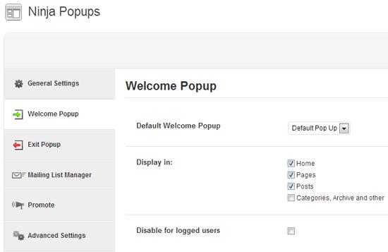 ninja popups configurações