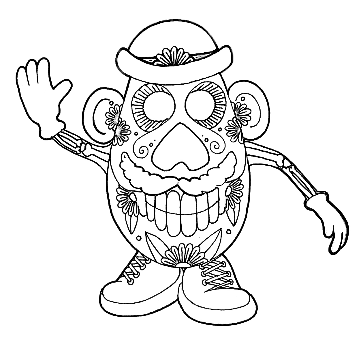 Delicate image with regard to printable skull coloring pages