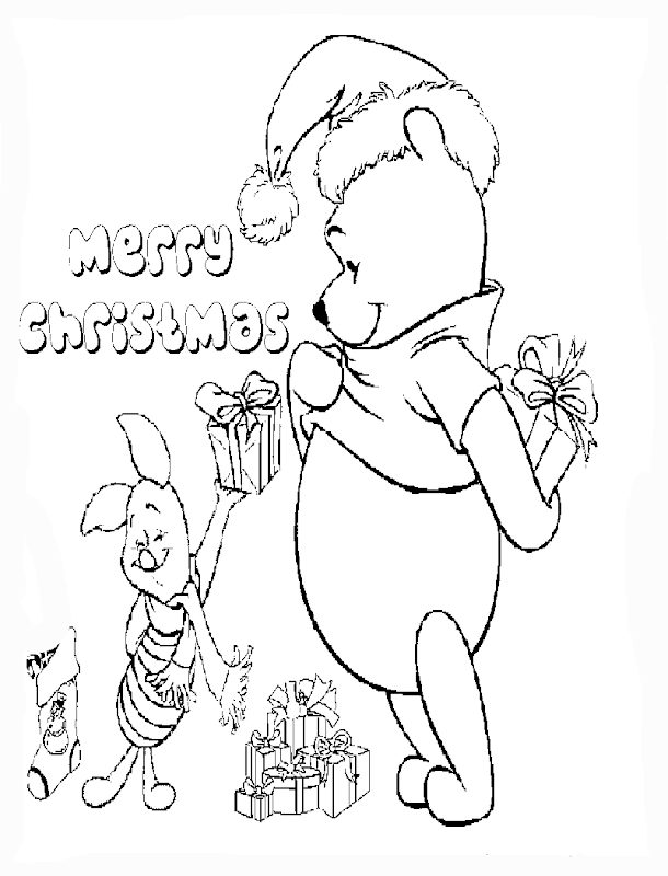 Winnie The Pooh Christmas Coloring Pages title=