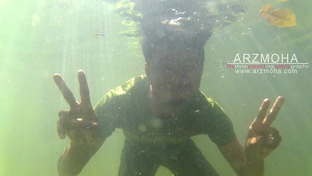 selfie, taman rimba pulau pinang, underwater, kualiti gambar sjcam,
