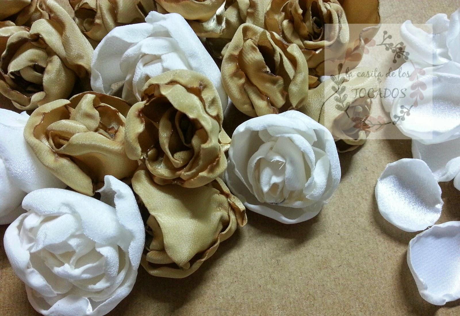 flores de tela artesanales para ramo vintage de novia