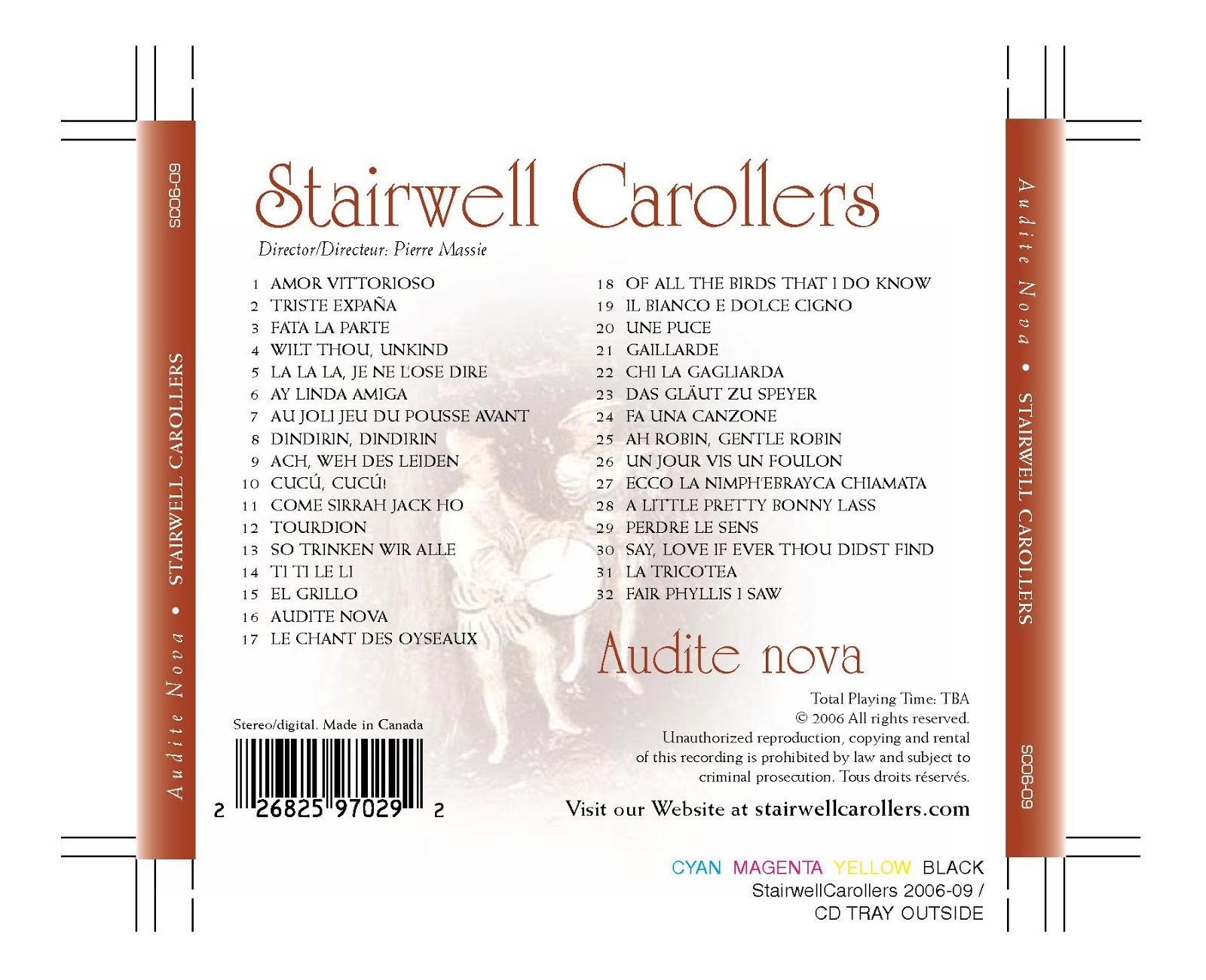 Stairwell Carollers Audite Nova Madrigal CD Song List