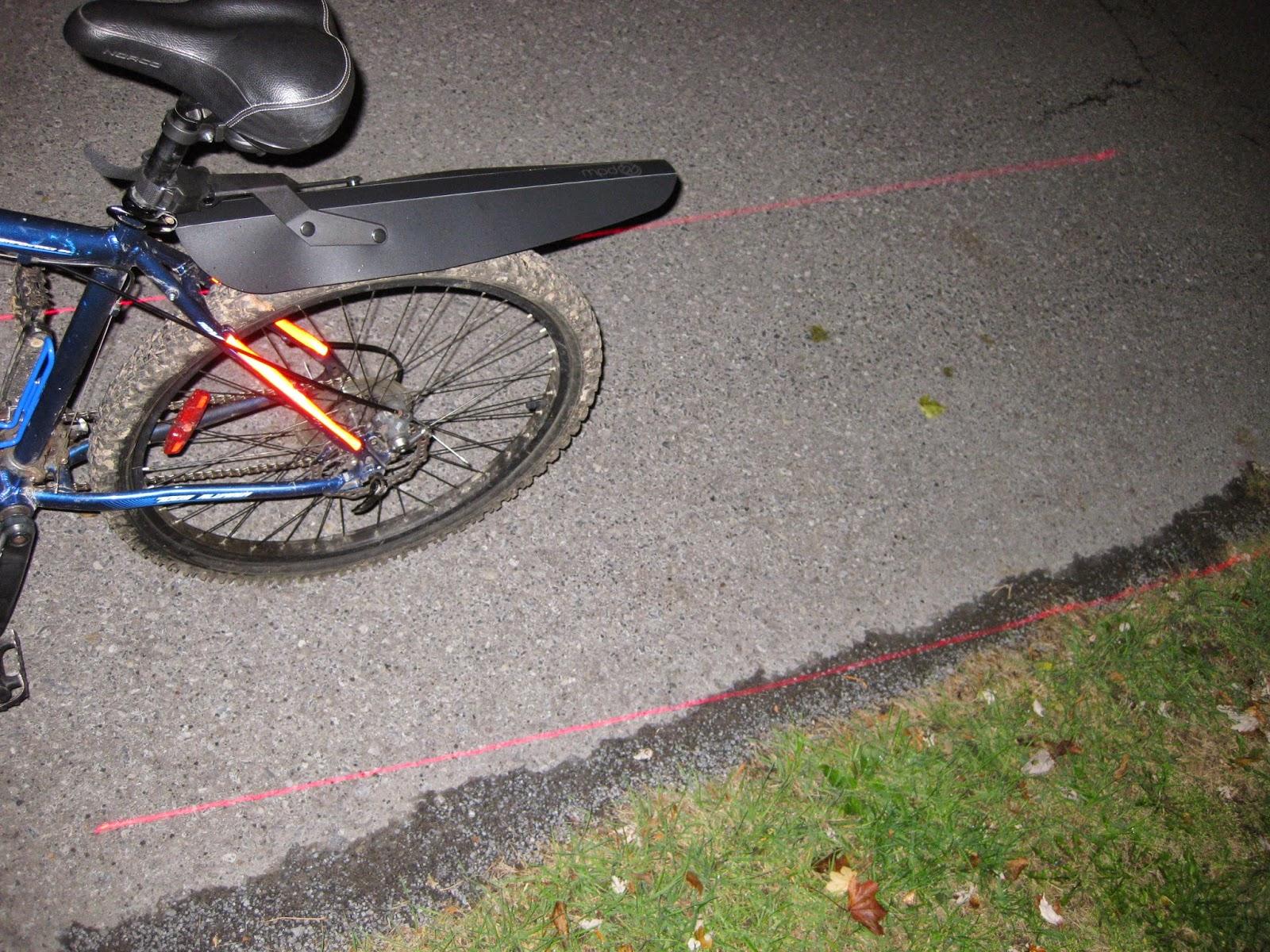The rear bike light on my icebike, it has a line laser!