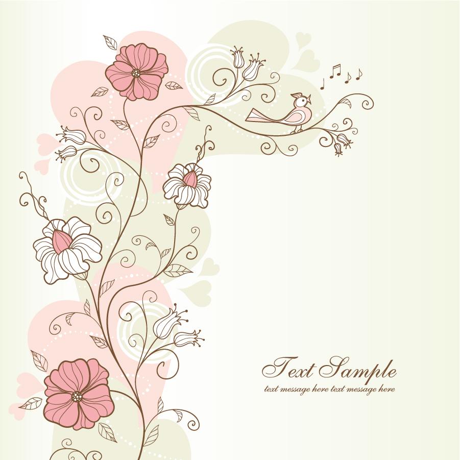 小鳥が囀る手書きの花柄背景 handpainted floral background イラスト素材