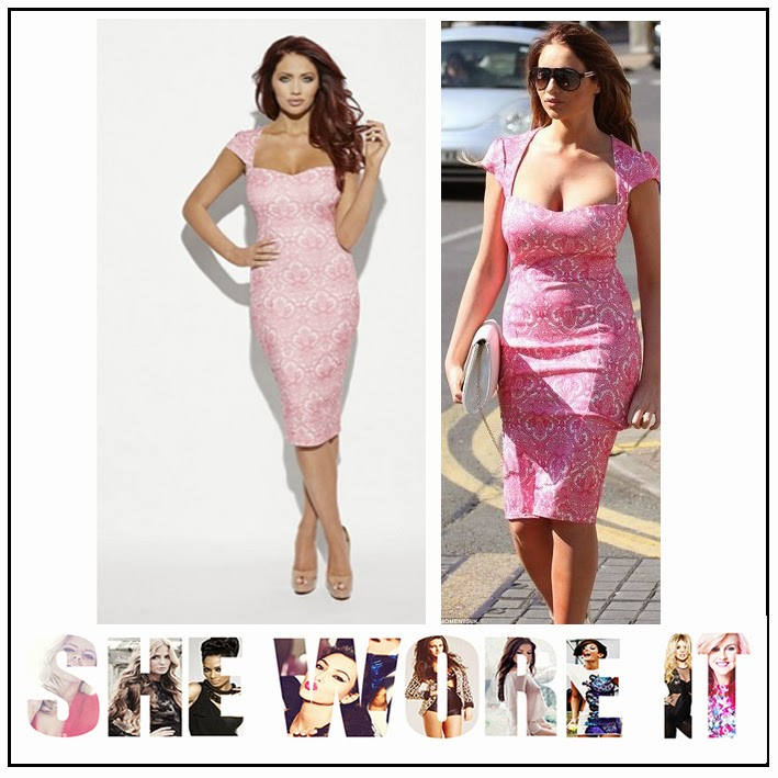 All Over White Lace Pattern, Amy Childs, Fitted Bodycon, Midi Dress, Pastel Pink, Rosie, Statement Shoulder, Sweetheart Neckline,
