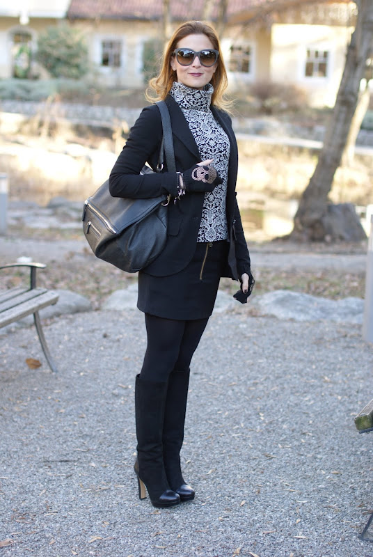 black and white outfit, Maison Scotch miniskirt, Givenchy bag, Fashion and Cookies
