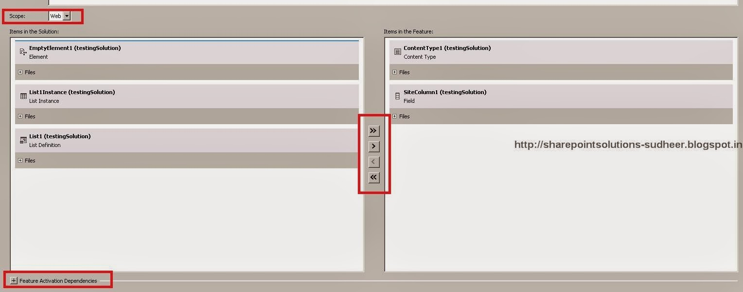 Solution Explorer to Move SharePoint Features