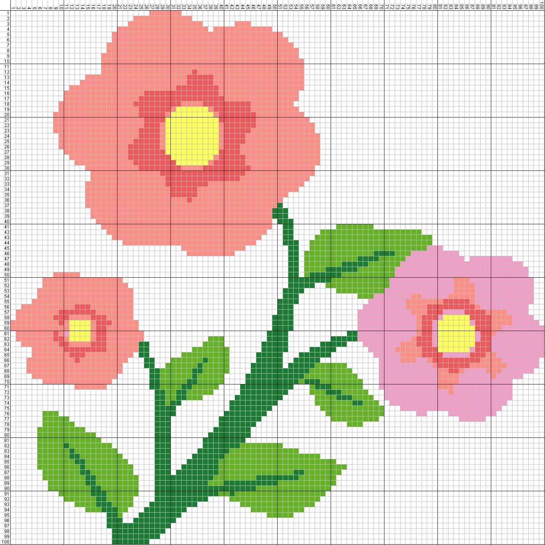Gambar Pola Kristik Bunga Sederhana | GambarKristik.com