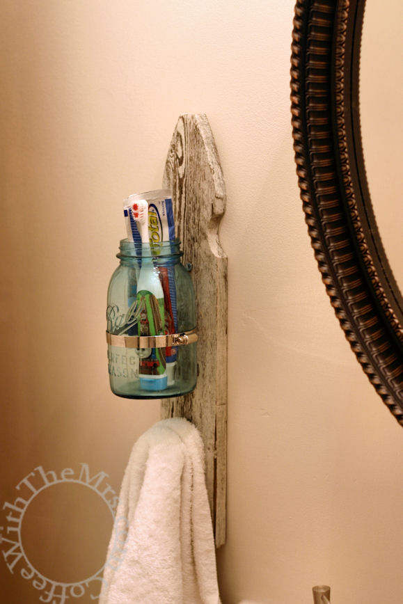 Shabby chic toothbrush and towel holder diy tutorial for Shabby chic towel stand