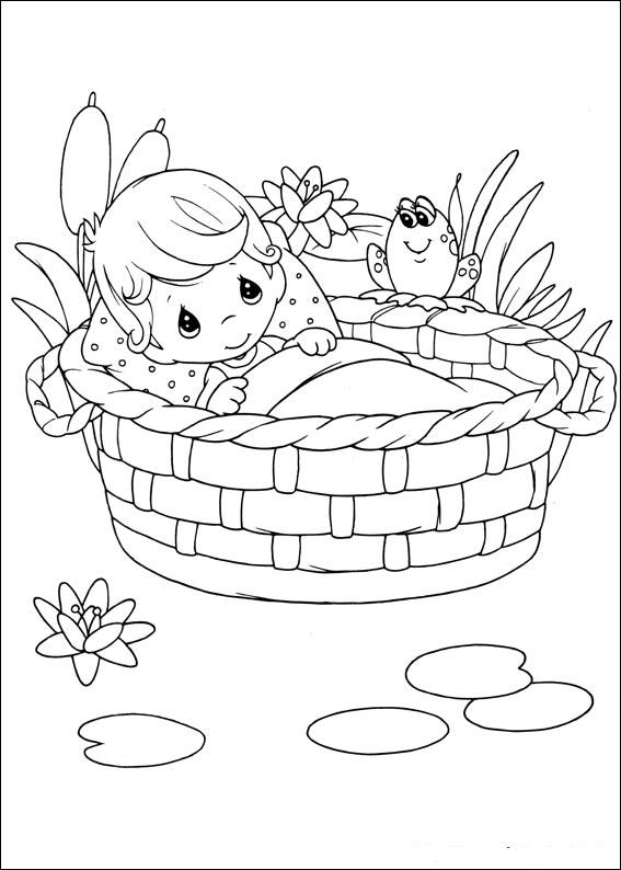 baby in basket of precious moments child coloring