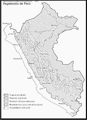 Mapa de la Vegetacion de Peru, blanco y negro