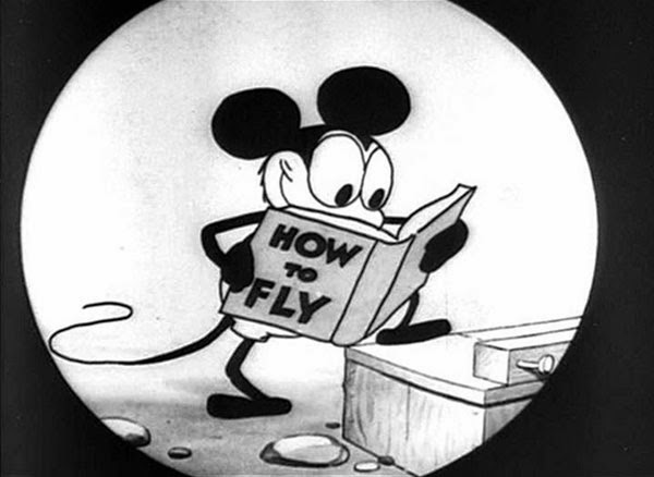 Mickey Mouse in his first cartoon, Plane Crazy