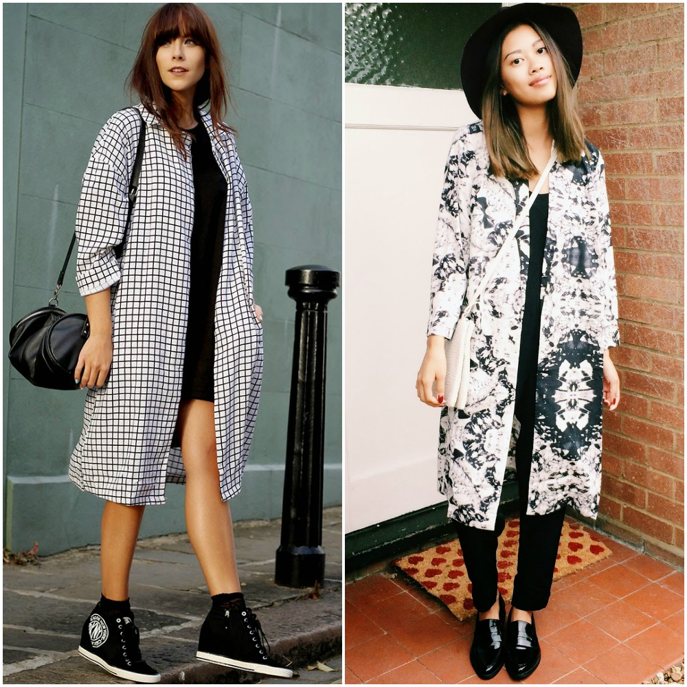 back to school outfit ideas - all black outfit with statement printed jacket coat flats street style look