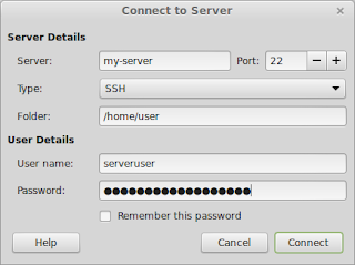 SSH dialog from the Nemo File Manager