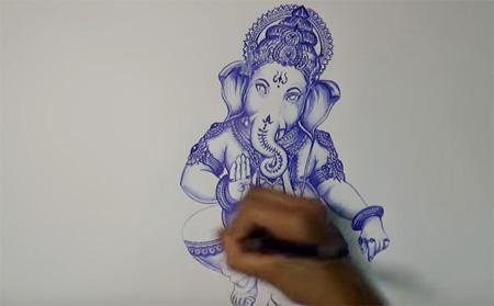 How to draw Ganesha | Ballpoint art | Shri Lakshmi Arts